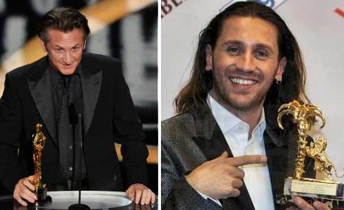 A sinistra Sean Penn, a destra Povia